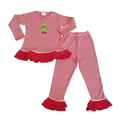 Christmas Pajamas Girls 2-Pc Top Pants Ruffles Christmas Tree Applique, 24 - Christmas Exclusive Tree