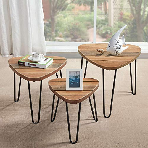 Natural Wood Set Coffee Table - 8