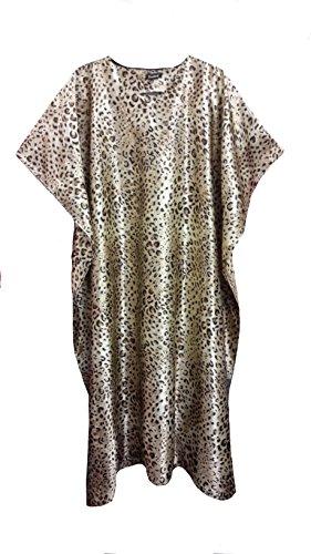 (15029) donna Leopard Print Silky Satin Long Kaftan/caffetano. Taglia unica: - UK 10-32