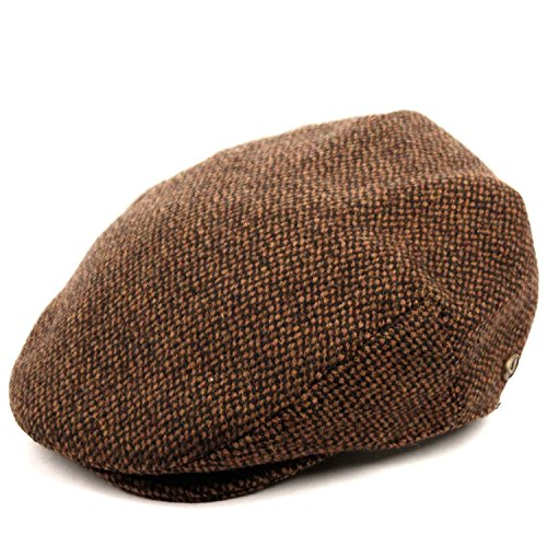 Men's Premium Wool Blend Tweed Flat IVY newsboy Collection Hat,Brown -