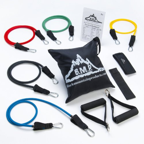 Portable Fitness Equipment. Black Mountain Products Resistance Band Set with Door Anchor, Ankle Strap, Exercise Chart, and Carrying Case