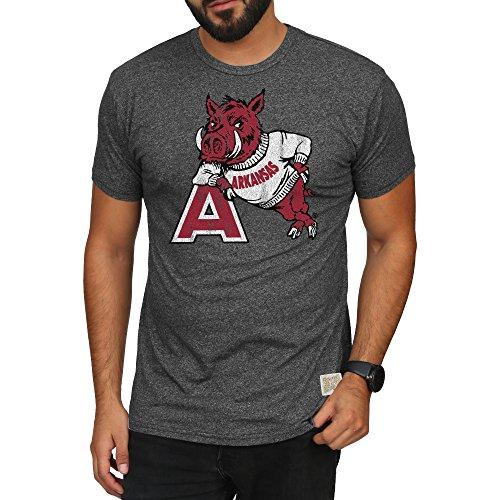 Elite Fan Shop Arkansas Razorbacks Retro Tshirt Charcoal - - Arkansas Fan Razorbacks