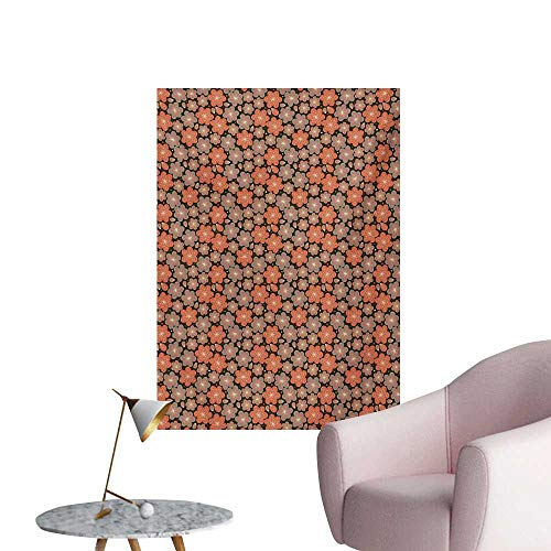 Anzhutwelve Flower Wallpaper Ornamental Spring Season Blooms with Dotted Background Abstract Antique PatternMulticolor W32 xL36 Art Poster