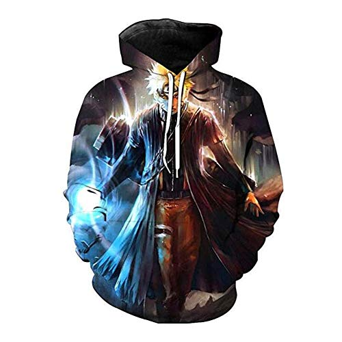 Broadmix Naruto Hoodie Anime Sweatshirt - Naruto 3D Print Pullover Hooded Sweatshirt Gaara Jacket Anime Coat]()