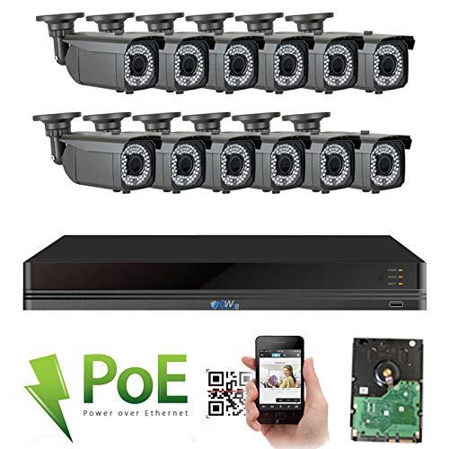 GW 16 Channel 4K NVR 5MP Video Security Camera System - Twelve 5MP 1920P Weatherproof 2.8-12mm Varifocal Bullet Cameras, 180ft IR Night Vision, Realtime Recording 1080p @ 30fps, Pre-Installed 4TB HDD