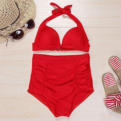 34f252ae8c7bf ... Tankini Swimsuit Set Floral Bademode Zweiterler Vintage Rot Bikini  Bauchweg Beachwear High Badeanzug Waisted Feelingirl Neckholder ...