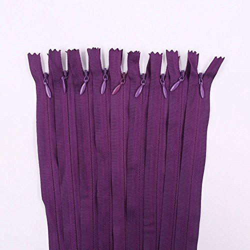 Renashed 45pcs 21.5 Inch Nylon Invisible Zippers for Tailor Sewer Sewing Craft Crafter's Special (Purple) (Purple Zipper)