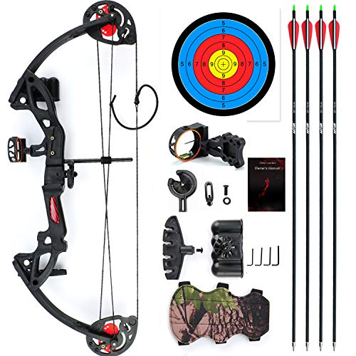 ANTSIR Compound Bow for Teens and Kids,Adjustable Twin Cam 15-29lbs 19-28 Archery Hunting Equipment 65% Let Off with Max Speed 260fps(Black with Sight)