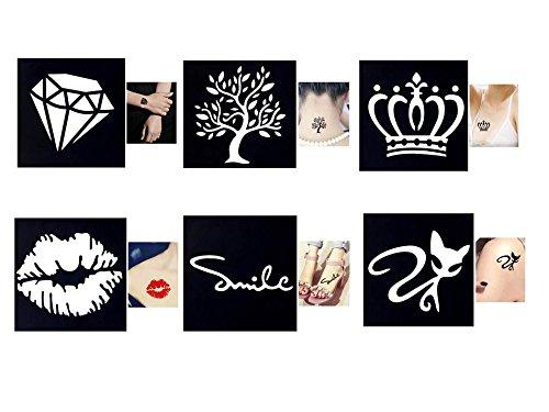 Tattoo Plantillas/Plantillas 6pequeños Sheet Set Mini 1para Henna Tattoo Glitter Tattoo Air Brush Tattoo Tie