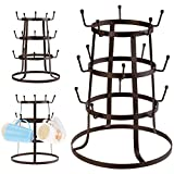 Bluefringe Cup Drying Rack, 3 Tier Retro Rustic Brown Metal Iron Coffee Mug/Cup/Glass Tree Drying Rack Stand w/15 Hooks