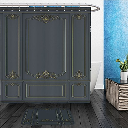 Merlot Panel Bed (Beshowereb Bath Suit: ShowerCurtian & Doormat black wall panels in classical style with gilding d rendering 601127318)