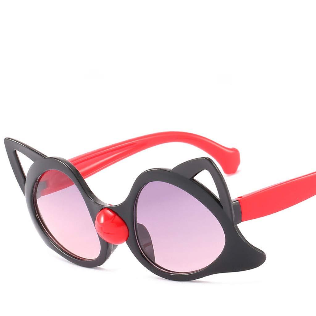Corriee Boys Girls Kids Cute Cat Glasses Eyewear Children Cartoon Sunglasses Black