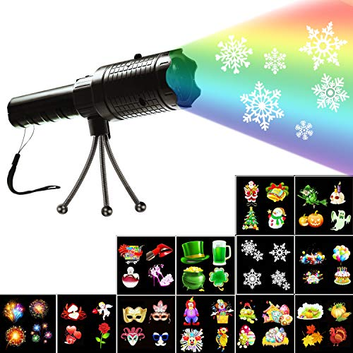Christmas Decorative Projector Lights, Holiday Decoration Handheld Flashlight, 12 Slides Projector Light with Dynamic and Static Images for Indoor Outdoor Party Birthday Halloween Xmas Kids Gift Toys]()