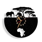 African Elephants Wall Clock WOODEN Africa Wall Clock 12 inch (30cm), Animals, Black Wall Art Décor #34