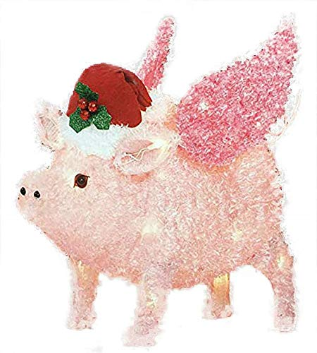 Holiday Time Flying Pig Yard Décor - Light Up Piggy Christmas Decoration (Renewed)