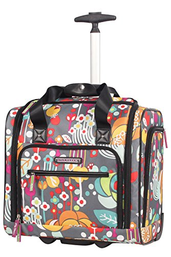 Lily Bloom Under the Seat Design Pattern Carry on Bag With Wheels (15in, - Scrapbooking Tote