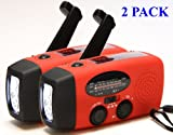 2-PACK HY-88E Emergency Dynamo Solar Self Powered AM/FM/WB(NOAA) Radio, Flashlight, Charger for Cell Phones: iPhone, iPad, iTouch, Android, Amazon Kindle, Smartphone, USB device, Best Gadgets