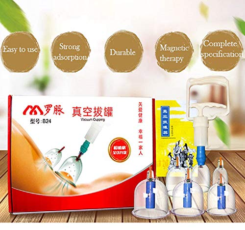 24 Pcs Cupping Set Professional Chinese Acupuncture Silicone Vacuum Suction Cups for Joint & Muscle Pain Relief - Best Chinese Cup Set for Anti Cellulite, Trigger Point, Deep Tissue Myofascial Release