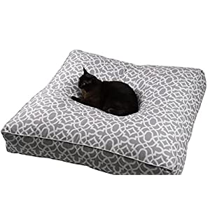 Large Floor Cushion Cover,Throw Pillow, Oversized Waterproof Pool Seating Living Room Decor, Dog Cat Bed Ottoman Yoga Meditation Outdoor Indoor Pouf Kids Teen Beige and White 88x88x15cm