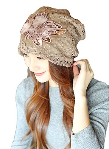 Beanie Knit Flower (Qunson Womens Lace Flower Beanie Hat Cap Turban (Light Coffee))