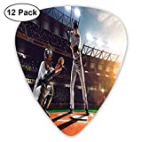 Guitar Picks - Abstract Art Colorful Designs,Professional Baseball Players In The Stadium Playing The Game Pich Sports Print,Unique Guitar Gift,For Bass Electric & Acoustic Guitars-12 Pack