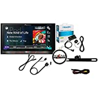 Pioneer AVH-4100NEX Double Din DVD Receiver w/ SiriusXM SXV300v1 Satellite Radio Tuner, Antenna, License Plate frame Backup Camera, CD-IU201V iPod Adapter Package with a FREE SOTS Air Freshener - All Inclusive!