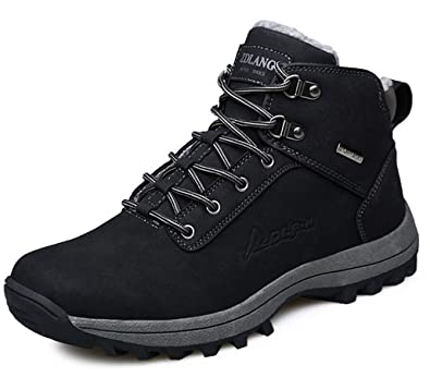 Stivali da Neve Uomo Inverno Trekking Scarpe Impermeabili Stivaletti Outdoor Caldo Piatto Pelliccia Sneakers Escursionismo Boots Adulto