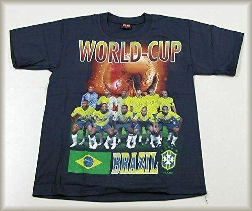 好奇心届けるねばねばサッカーTシャツ●ワールドカップ ブラジル 代表チーム 黒 半袖●T096