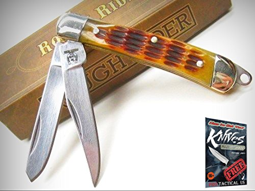 ROUGH RIDER Amber Jigged Bone TINY TRAPPER 2 Blade Folding Pocket Knife! 001807 + free eBook by ProTactical'US