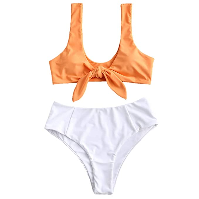 e0fe99de26a Amazon.com: ZAFUL Women Sexy High Waist Bikini Set Tie Knot Front Two Piece  Bath Suits Swimwear: Clothing