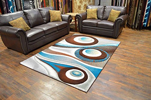 Premium 3D Effect Hand Carved Modern 5'X7' Contemporary Rug 1504 Brown Turquoise by Artistry Rugs (Rugs Turquoise And Brown)