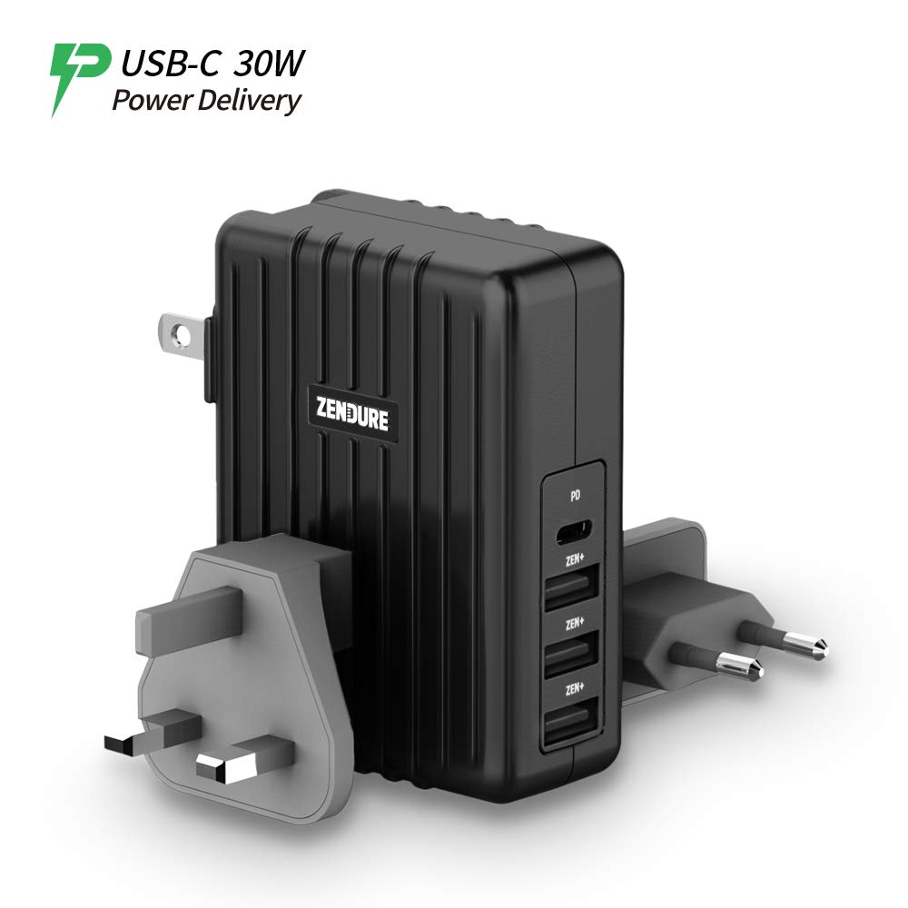 Zendure USB-C Wall Charger, 4-Port 45W USB Type C Power Delivery PD Charger, Zen+ Fast Charging Travel Adapter with US/UK/EU Plugs Compatible MacBook, iPhone, Nintendo Switch, Samsung Galaxy - Black