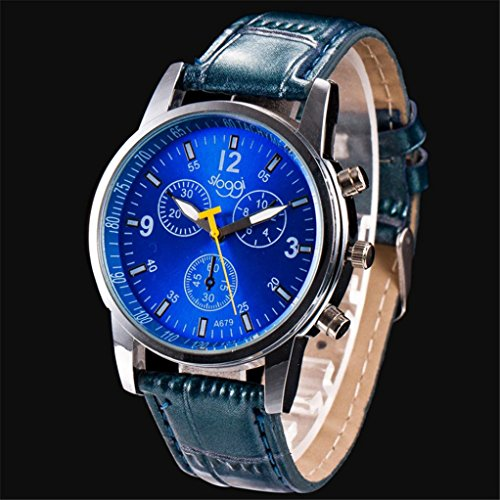 Men's Watch,LtrottedJ Luxury Fashion Crocodile Faux Leather Mens Analog Watch Wrist Watches (Blue) ()