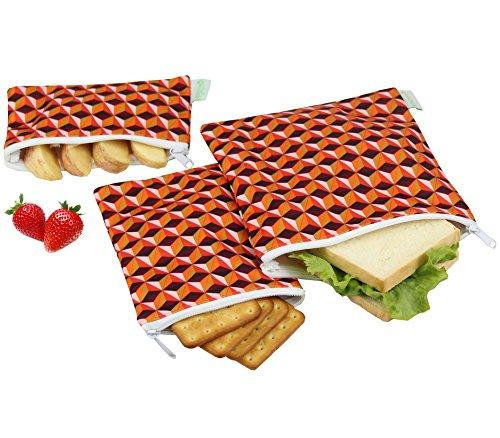 - Wegreeco Reusable Sandwich & Snack Bags - Set of 3 - (Triangle)
