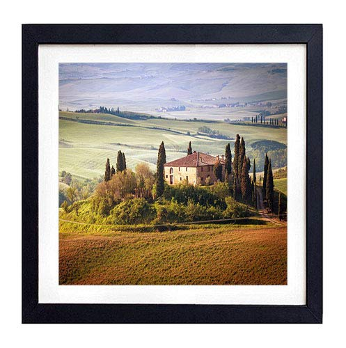 Framed Wall Art- italy tuscany summer countryside landscape nature trees sky green field- Art Print Black Wood Framed Wall Art Picture For Home Decoration - 14