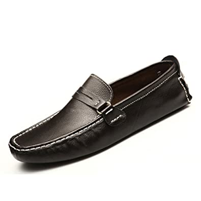 Black/Brown US Size 5-12 New Genuine Leather Mens Slip On Business Formal Suit Dress Comfort Loafers Shoes