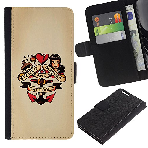 Planetar Colorful Pattern Flip Wallet Leather Holster Protective Skin Case Cover Apple (5.5 inches!!!) iPhone 6+ Plus / 6S+ Plus ( Pin Up Heart Doll Anchor Woman Tattoo (Pin Up Dolls Tattoos)