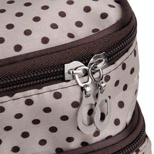 Toiletry Pouch Handbag Organizer Makeup Beige Hanging Travel Cosmetic Bag Zip Swiftswan Dot qZwxfAC