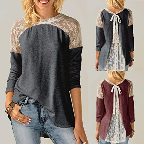 Clearance Lace Paneled Long Sleeved Top Womens Round Neck Lace Long Sleeve Bowknot Blouse Tops Duseedik ()