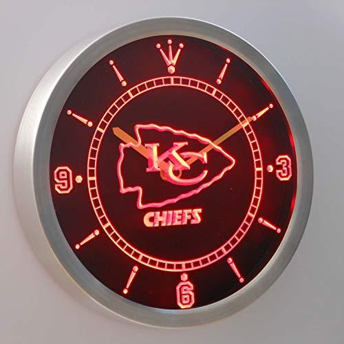 GGBMT Kansas City Chiefs Neon Sign LED Wall Clock ()