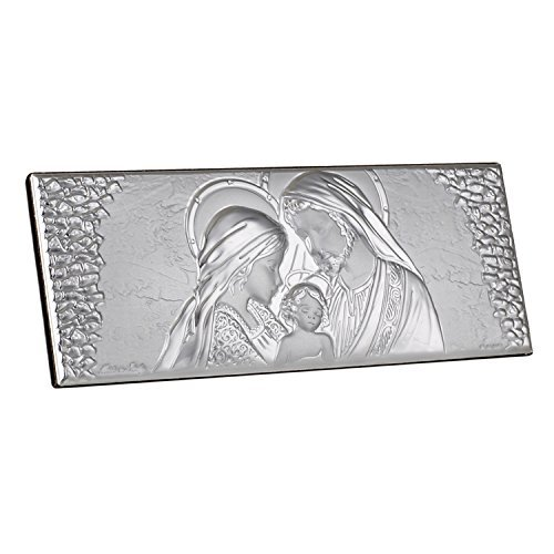 FavorOnline Italian Argento Madonna, Joseph and Child Holy Family Full Silver Icon on Wood Stand - Large
