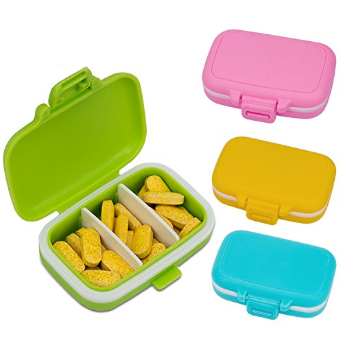 Daily Candy - AIEX Pill Organizer Pill Box AM PM Pill Case with Detachable Compartments for Daily and Travel Vitamin/Fish Oil/Supplements (4 Candy Colors)