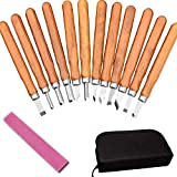 Wood Carving Tool Set, CBTONE 12 PCS Professional Sharp Woodworking Carving Chisel Kit with Wooden Handle for Carpenters, Craftsman, DIY Hobbyist, Beginners