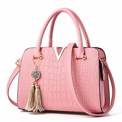 Bags Handbags for Messenger Shoulder Vintage Leather Ladies Letters Crossbody Pink Tassel Saihui Tote Women Bags Bag Pattern V Alligator Design AEOCq