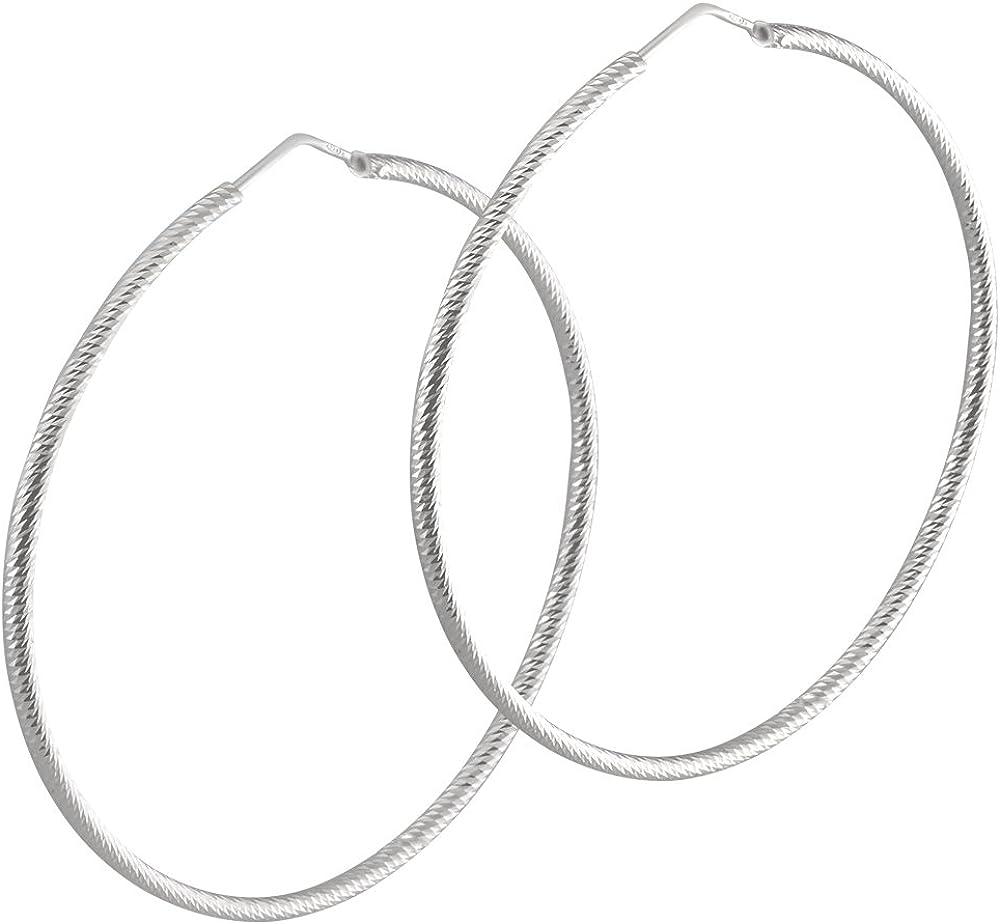 Vinani Creolen groß diamantiert facettiert Sterling Silber 925 Ohrringe CDP