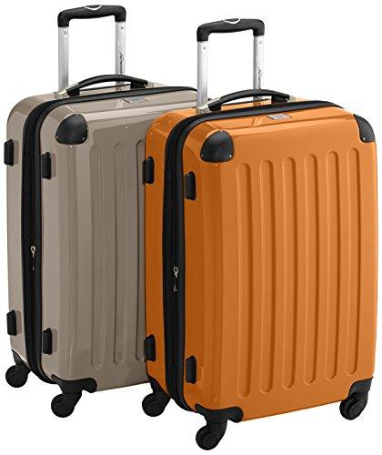 HAUPTSTADTKOFFER - Alex - 2er Koffer-Set Hartschale glänzend, 65 cm, 74 Liter, Graphit-Gelb Champagner-orange