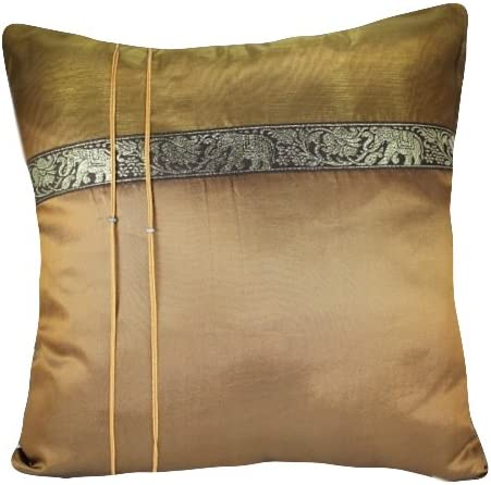 That s Perfect Thai Elephant Band 18 x18 Decorative Silk Throw Pillow Sham – COVER Bronze