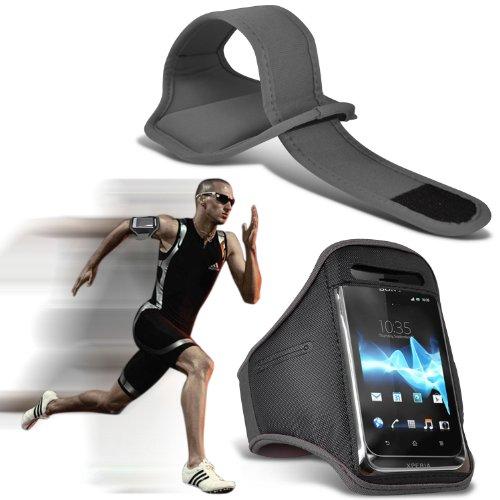 (Black) HTC One Mini 2 Schutzmaßnahmen Kunstleder-Klappe über Pouch Case Hülle mit Gürtelclip von Fone-Case Armbinde (Grau) COLZqH