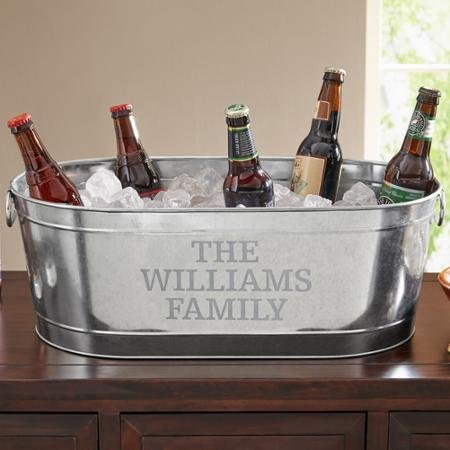 - Personalized Galvanized Beverage Tub, Family Name