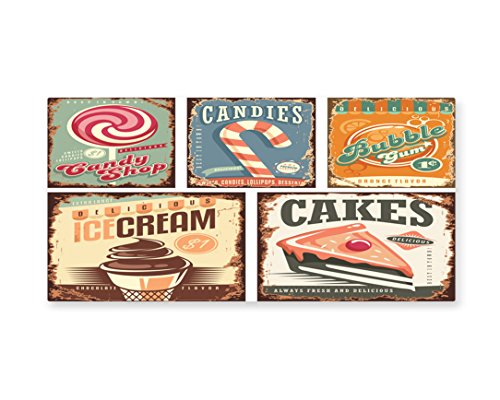 Lunarable Vintage Wall Art, Nostalgic 50s Sweet Candy Store